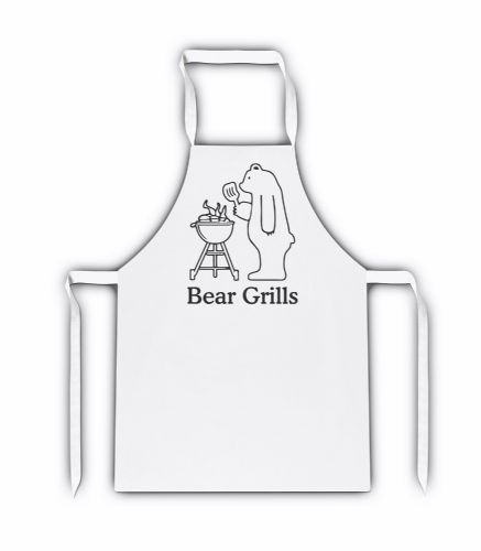 Bear Grills Funny White Adult Apron